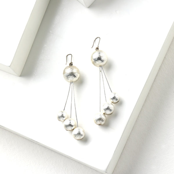 Silver Toned Three Line Drop Earrings with Ball Details
