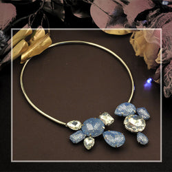 Silver Toned Back to Front Necklace with Blue Netted & White Crystals