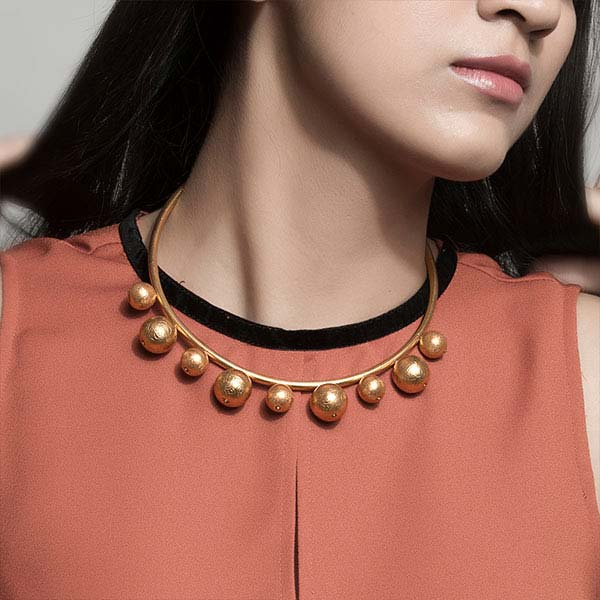 Gold Toned Collar Necklace with Ball Details
