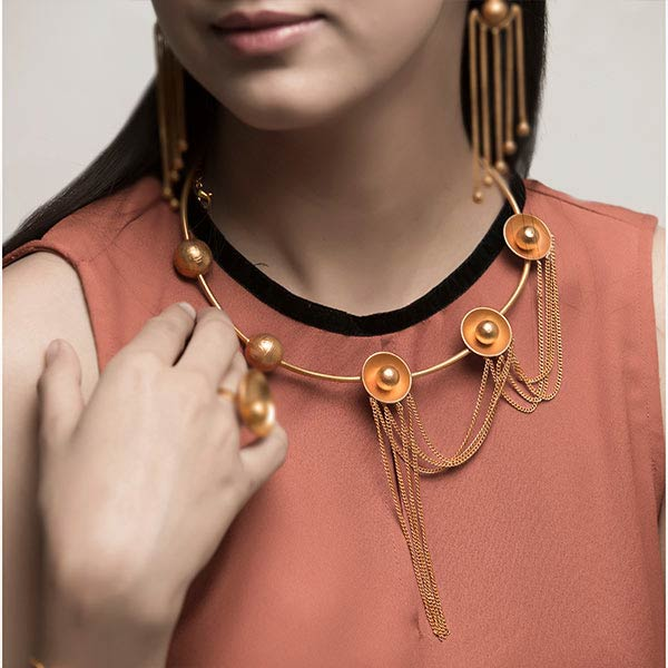 Gold Toned Ball & Shadow Collar Necklace with Cascading Tassels