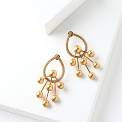 Gold Toned Linked Ball Drop Earrings