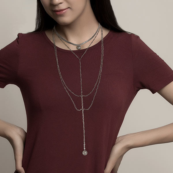 Silver Toned Multi-Chain Lariat Necklace with Ball Details