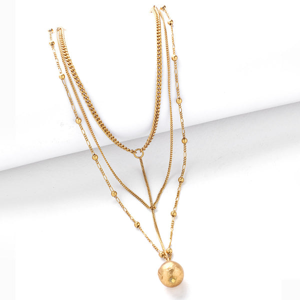 Gold Toned Multi-Layer Linked Necklace with Ball Detail
