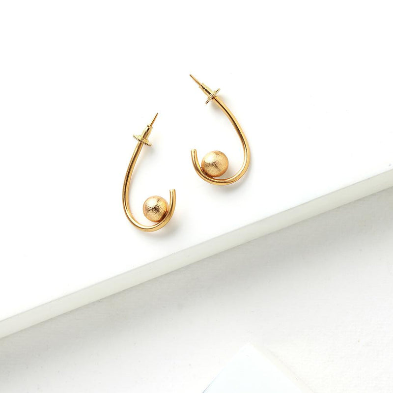 Gold Toned Curve Hoop Earrings with Ball Details