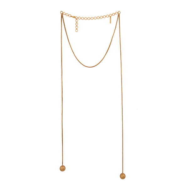 Gold Toned Front Tassel Necklace with Ball Details