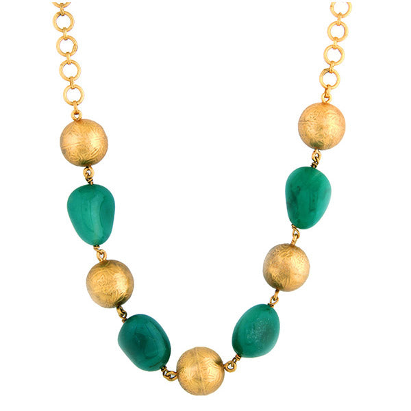 Gold Toned Blue Chalcedony & Bead Short Necklace