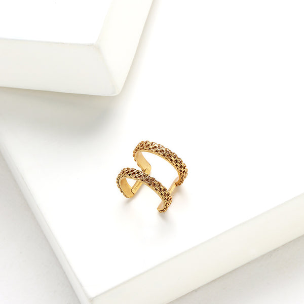 Gold Toned Double Line Ring with Chain Detail
