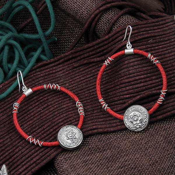 Oxidised Silver & Red Cord Hoop Earrings