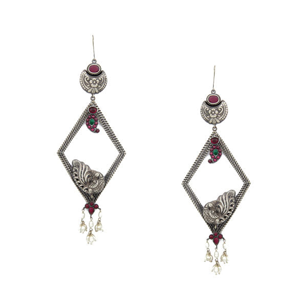 Oxidised 92.5 Silver Peacock Diamond-Shaped Earrings with Crystals & Pearls