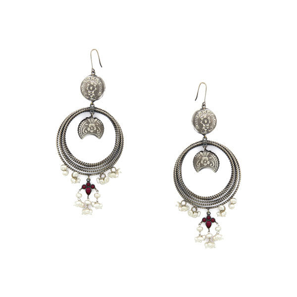 Oxidised 92.5 Silver Floral Hoop Earrings with Red Crystals & Pearls