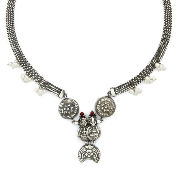 Oxidised Silver Multi-Line Necklace with Floral Tribal Pendant