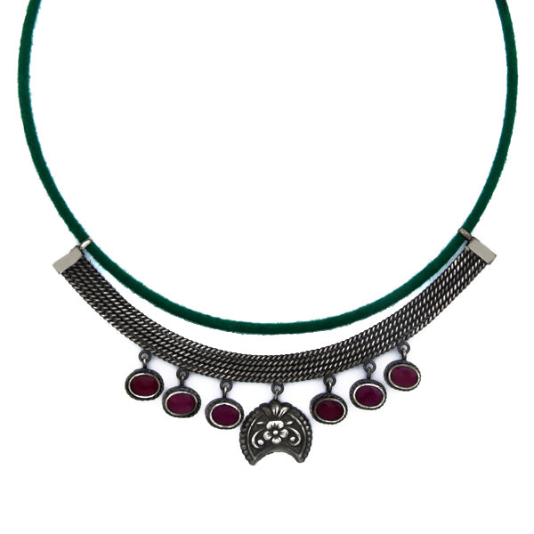 Green Cord & Oxidised Silver Multi-Line Necklace with Pink Crystals