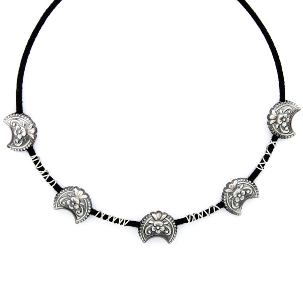 black-cord-spiral-choker-necklace-with-floral-oxidised-silver-pendants