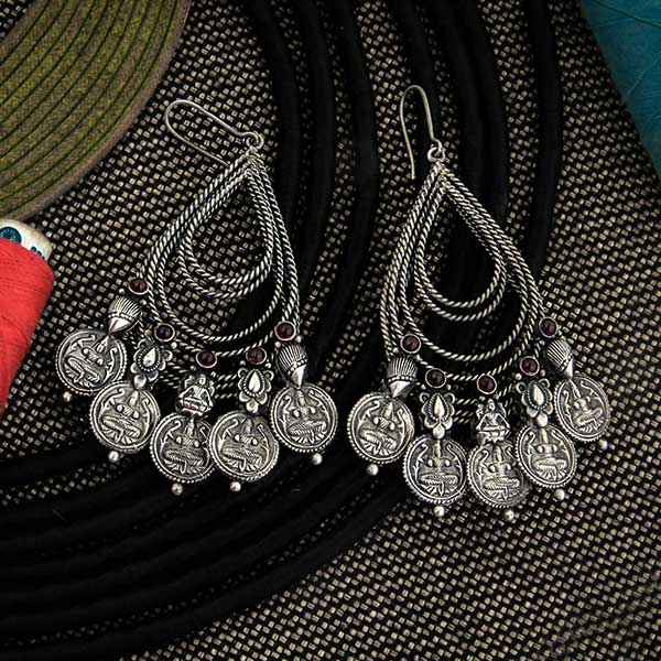 Oxidised Silver Tribal Coin Bali Earrings with Crystals Worn By Keerthy Suresh