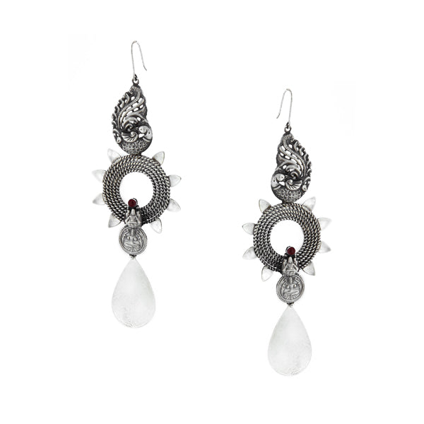 Oxidised Silver Peacock & Circle Drop Earrings with Pink Crystals