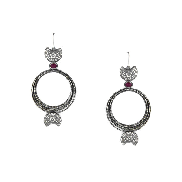 Oxidised Silver Crescent Motif Bali Earrings with Pink Crystals