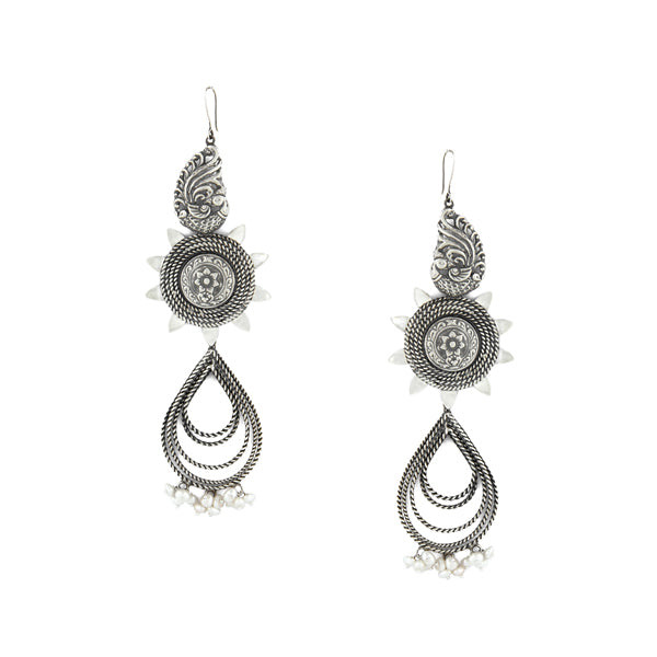 Oxidised 92.5 Silver Peacock & Floral Long Drop Earrings