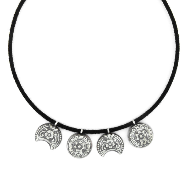 black-cord-necklace-with-floral-oxidised-silver-pendants