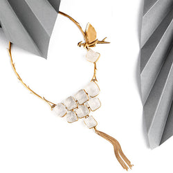 Gold Toned 'Wings' Necklace with Calcite Details