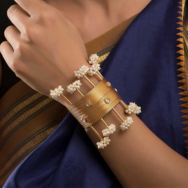 Gold Toned Lines Open Cuff with Pearl Clusters