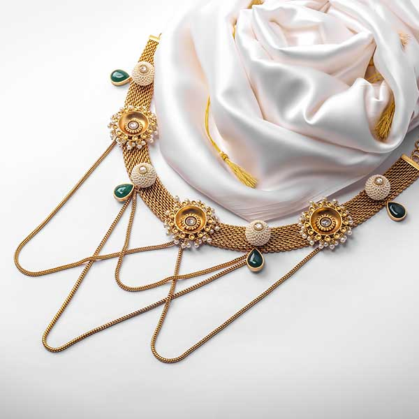 Gold Toned Flat Chain Necklace with Pearl Bead & Circle Pendants