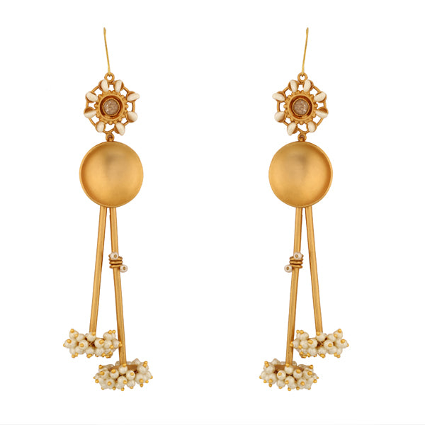 Gold Toned Sun & Rays Earrings with Pearl Clusters