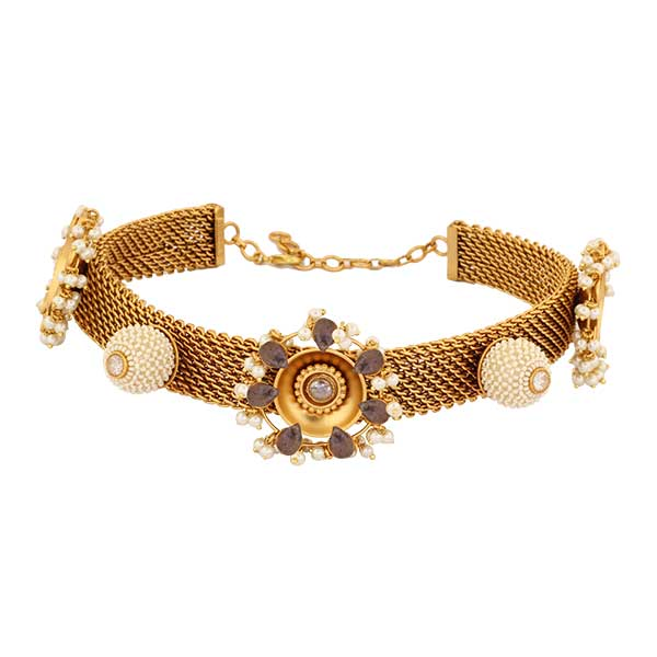 Gold Toned Flat Chain Choker with Netted Pearls & Crystals