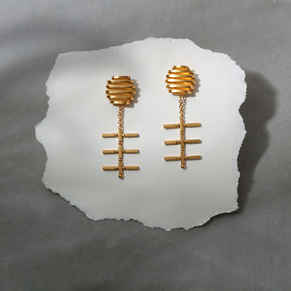Gold Toned Crosses & Wrapped Metal Long Earrings