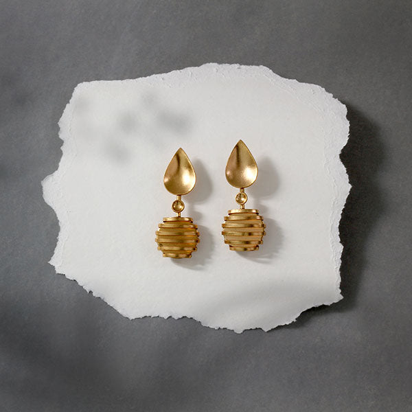 Gold Toned Wrapped Metal Drop Earrings