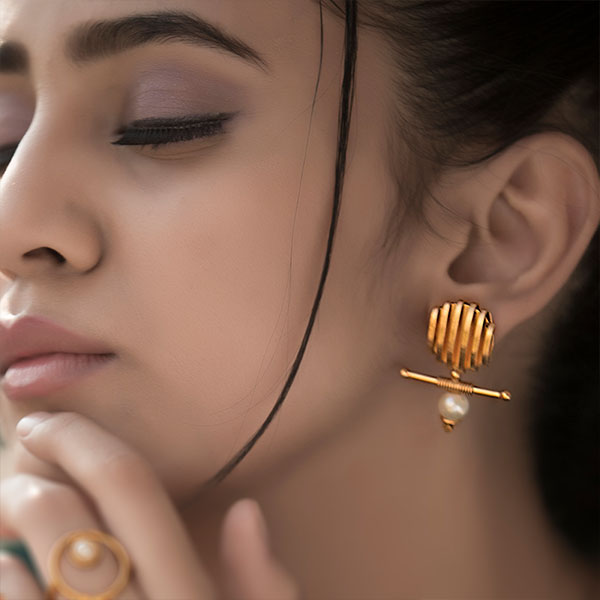 Gold Toned Wrapped Metal & Bar Earrings with Pearls Worn By Lavanya Tripathi