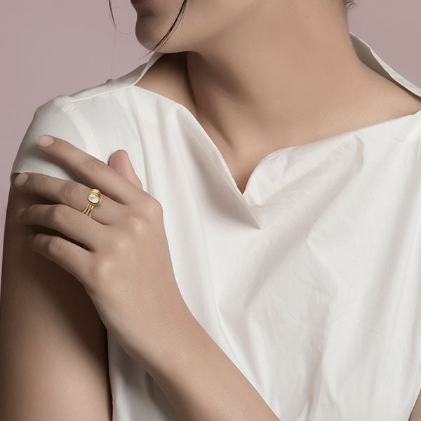 Gold Toned Wrapped Pearl Ring