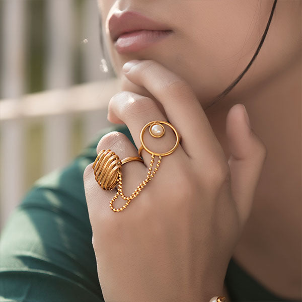 Gold Toned Wrapped Metal & Pearl Two Finger Ring