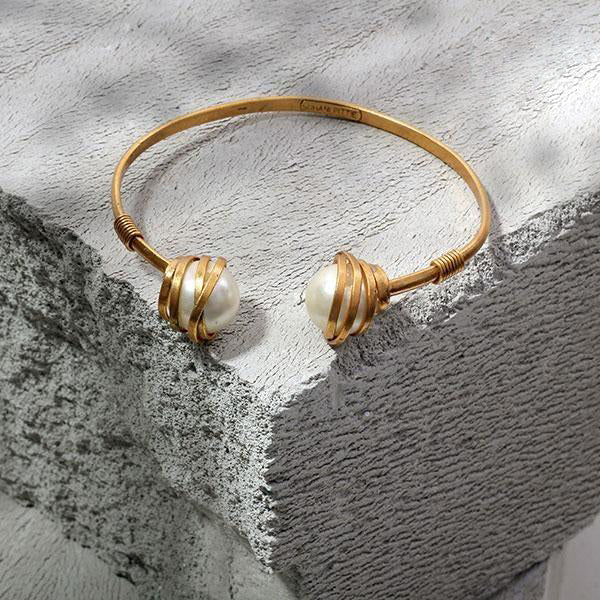 Gold Toned Open Cuff with Wrapped Pearls