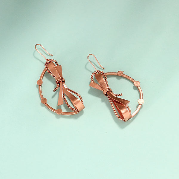 Rose-Gold Toned Semi-Circle Drop Earrings with Textured Bows
