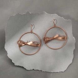 Rose-Gold Toned Hoop Earrings with Textured Bows