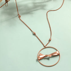 Rose-Gold Toned Chain Necklace with Circle & Bow Pendant