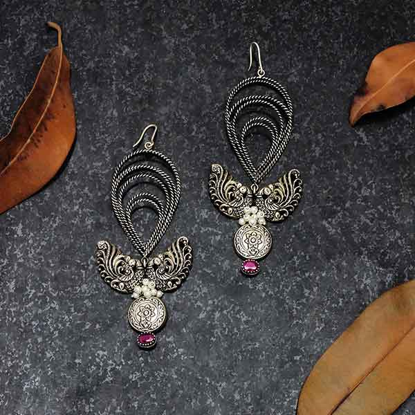 Sterling Silver Twisted Lines Drop Hoop Earrings with Peacock Pendants