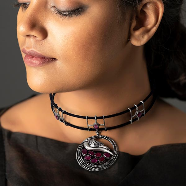 Sterling Silver Black Cord Choker Necklace with Crystal Bird Pendant