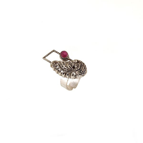 Sterling Silver Peacock Ring with Pink Crystals