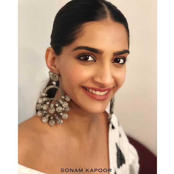 Oxidised 92.5 Silver Double Coin Bali Earrings worn by Sonam Kapoor
