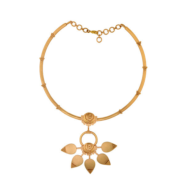 GOLD TONED COLLAR NECKLACE WITH ROSE & PETAL DROP PENDANT