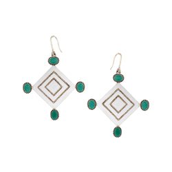 Sterling Silver Diamond-Shaped Drop Earrings With Green Crystals