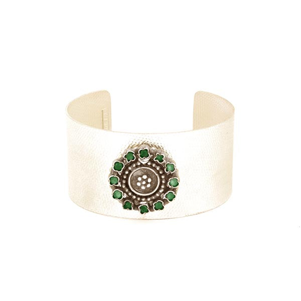 Sterling Silver Broad Cuff with with Green Crystal Circle Pendant