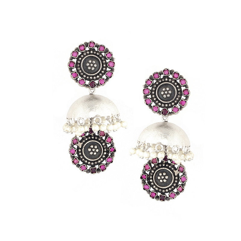 Sterling Silver Jhumka Earrings With Pink Crystals