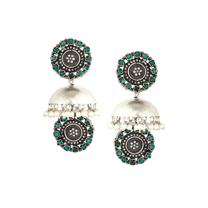 Sterling Silver Jhumka Earrings With Green Crystals