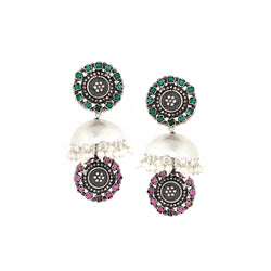Sterling Silver Jhumka Earrings With Pink & Green Crystals