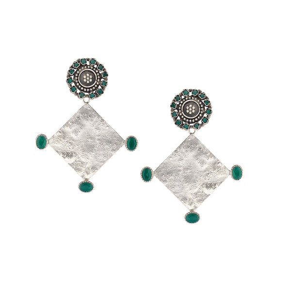 Sterling Silver Textured Drop Earrings With Green Crystals