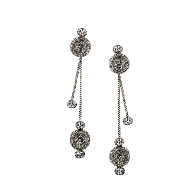 Sterling Silver Long Drop Earrings With Tribal Floral Motifs
