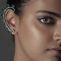 Sterling Silver Twister Wire Ear Cuffs with Green Crystals