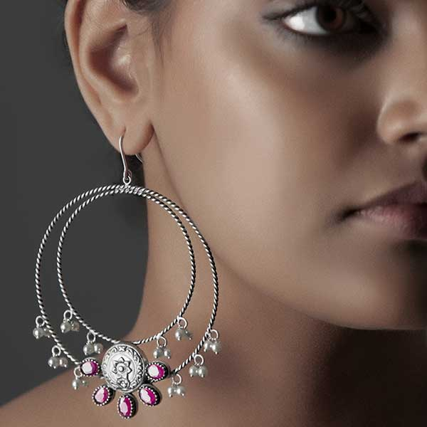Sterling Silver Crescent Bali Earrings with Pink Crystals